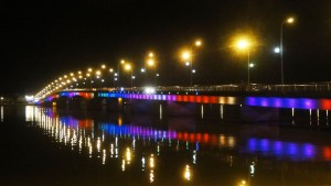 Nhat Le River bridge at night